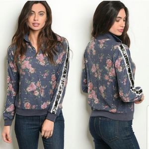 NWT Floral Pullover with Sequins By Available Sz M